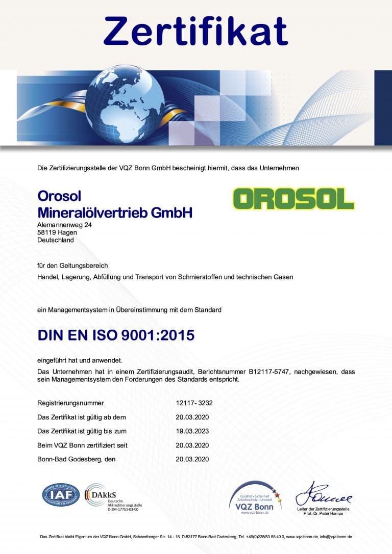 Zertifikat VQZ Bonn 9001 Orosol 9001